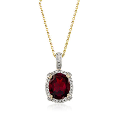 3.90 Carat Garnet and .26 ct. t.w. Diamond Pendant Necklace in 14kt Yellow Gold, , default