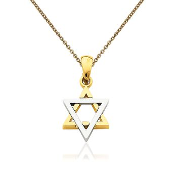 """14kt Two-Tone Gold Star of David Pendant Necklace. 18"""", , default"""