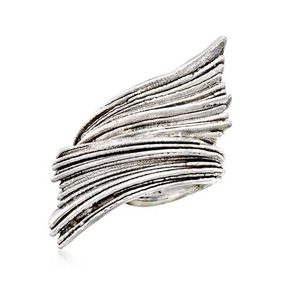 Sterling Silver Ribbed Bypass Ring, , default