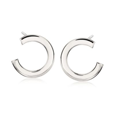 Italian Sterling Silver C-Hoop Earrings, , default