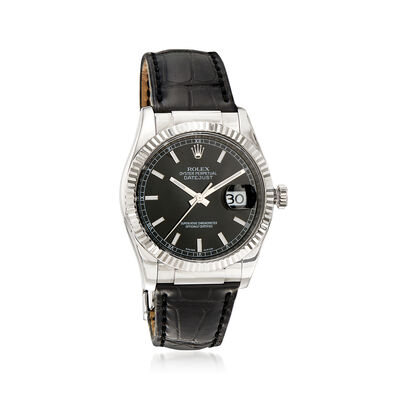 Pre-Owned Rolex Datejust Men's 36mm Automatic 18kt White Gold Watch with Black Leather, , default