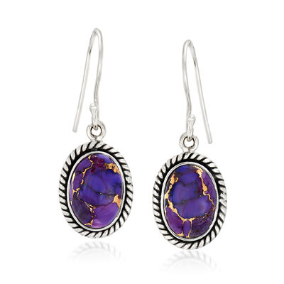 Kingman Purple Turquoise Drop Earrings in Sterling Silver