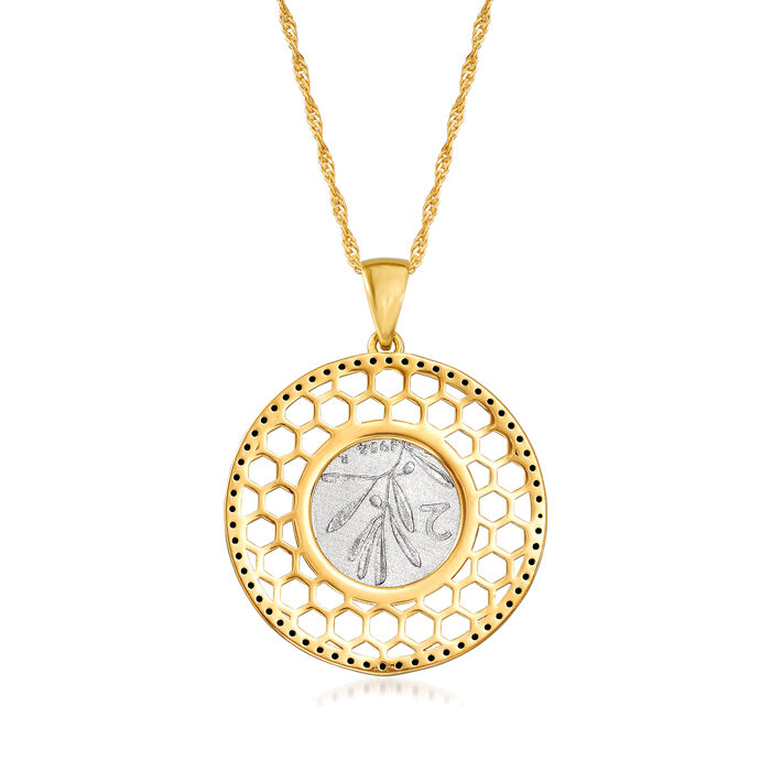 Italian .50 ct. t.w. Black Spinel Genuine Bee Lira Coin Pendant Necklace in 18tk Gold Over Sterling