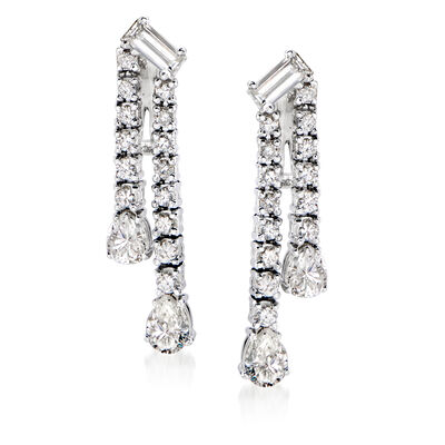 C. 1980 Vintage 1.85 ct. t.w. Diamond Double-Drop Earrings in Platinum