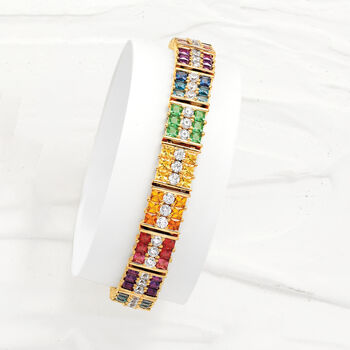 14.25 ct. t.w. Multicolored CZ Bracelet in 18kt Gold Over Sterling
