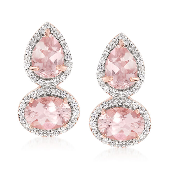 2.80 ct. t.w. Morganite and .30 ct. t.w. White Zircon Drop Earrings in 18kt Rose Gold Over Sterling, , default