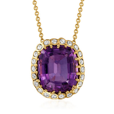 C. 1980 Vintage 7.90 Carat Amethyst and .55 ct. t.w. Diamond Necklace in 14kt Yellow Gold