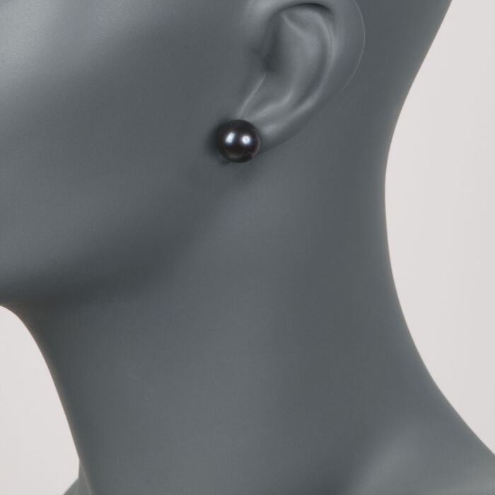 11-12mm Black Cultured Pearl Stud Earrings in 14kt White Gold