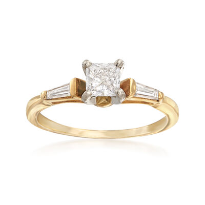 C. 1990 Vintage .70 ct. t.w. Square Princess and Baguette Diamond Ring in 14kt Yellow Gold