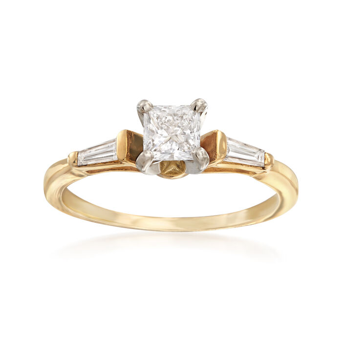 C. 1990 Vintage .70 ct. t.w. Square Princess and Baguette Diamond Ring in 14kt Yellow Gold. Size 7.5