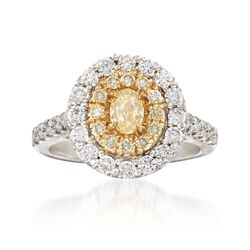 1.43 ct. t.w. Yellow and White Diamond Ring in 18kt Two-Tone Gold, , default