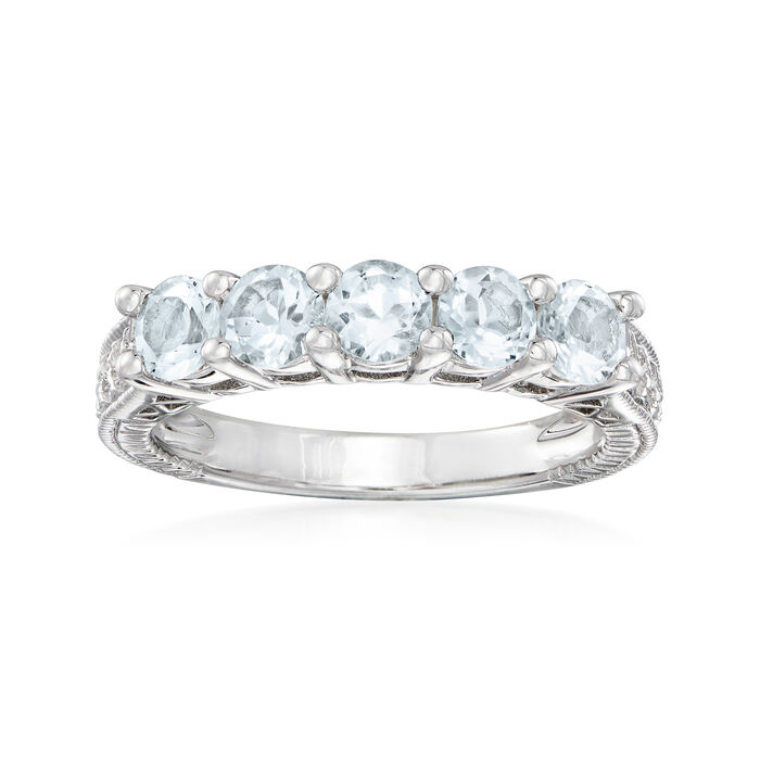 1.10 ct. t.w. Aquamarine Five-Stone Ring in Sterling Silver