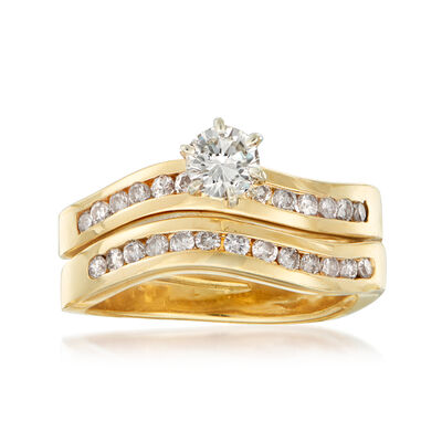 C. 1990 Vintage .85 ct. t.w. Diamond Bridal Set: Engagement and Wedding Rings in 14kt Yellow Gold, , default