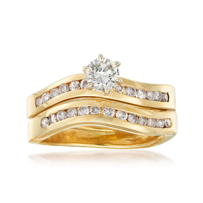 C. 1990 Vintage .85 ct. t.w. Diamond Bridal Set: Engagement and Wedding Rings in 14kt Yellow Gold. Size 6.5, , default