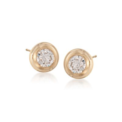 .75 ct. t.w. Double Bezel-Set Diamond Stud Earrings in 14kt Yellow Gold, , default