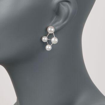 7-9.5mm Cultured Pearl Cluster Drop Earrings in Sterling Silver, , default