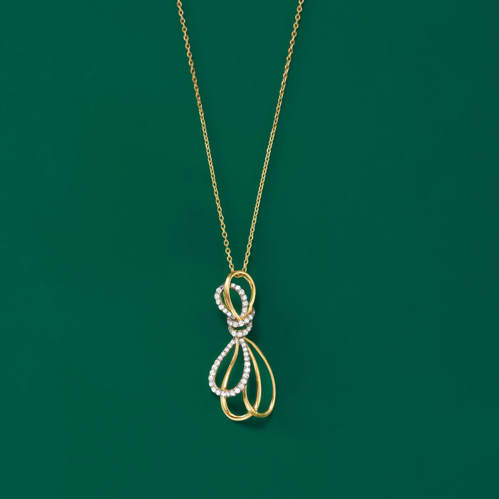 .41 ct. t.w. Diamond Bow Necklace in 14kt Yellow Gold