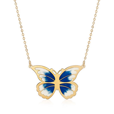 Italian Blue and White Enamel Butterfly Necklace in 14kt Yellow Gold, , default