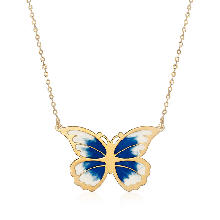 "Italian Blue and White Enamel Butterfly Necklace in 14kt Yellow Gold. 20"", , default"