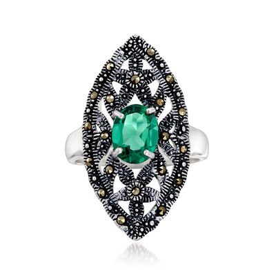 2.20 Carat Green Quartz and Marcasite Ring in Sterling Silver, , default