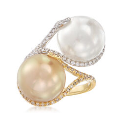 12.8mm White and Golden Cultured South Sea Pearl and .56 ct. t.w. Diamond Bypass Ring in 18kt Two-Tone Gold, , default