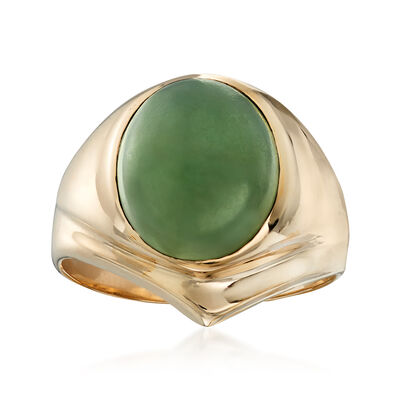 C. 1970 Vintage 11x9mm Jade Ring in 10kt Yellow Gold, , default