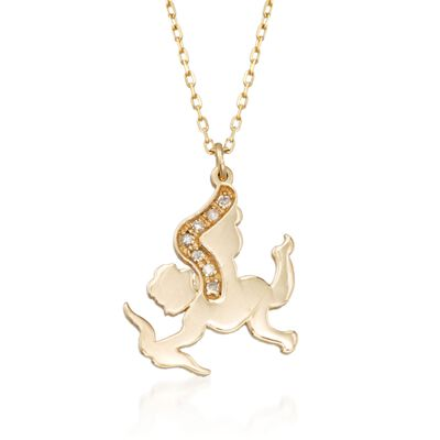 14kt Yellow Gold Cupid Pendant Necklace with Diamond Accents, , default