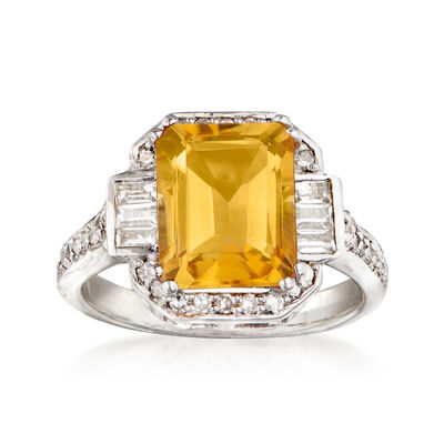 2.80 Carat Citrine, .32 ct. t.w. Diamond and .10 ct. t.w. White Topaz Ring in Sterling Silver