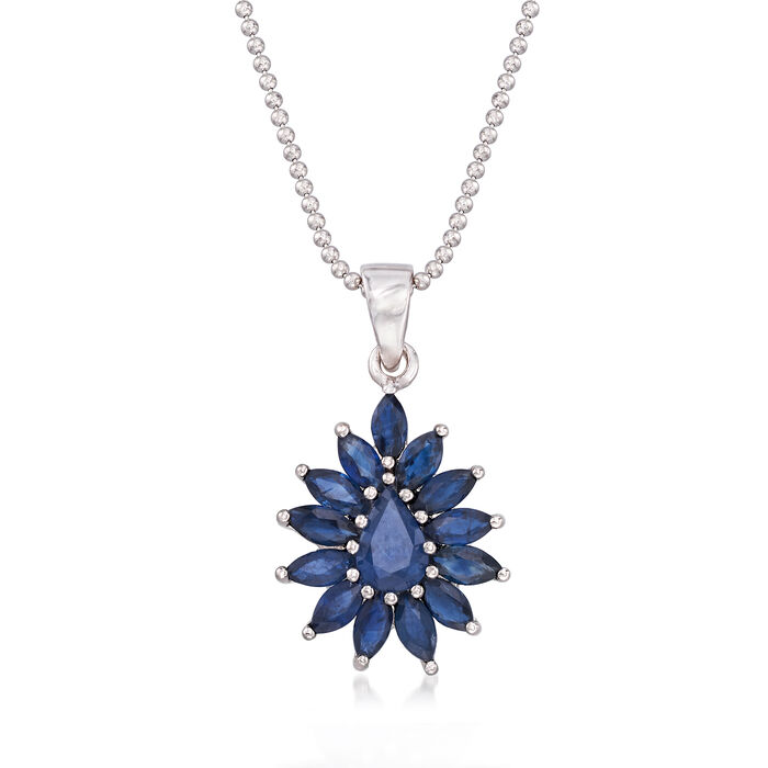 """2.60 ct. t.w. Sapphire Cluster Pendant Necklace in Sterling Silver. 18"""", , default"""