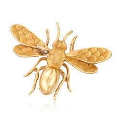 C. 1980 Vintage 18kt Yellow Gold Bee Pin, , default