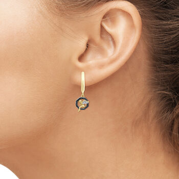 .12 ct. t.w. Black and White Diamond Angel Drop Earrings in 18kt Yellow Gold Over Sterling Silver. Leverback Earrings