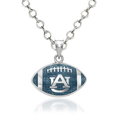 "Sterling Silver Auburn University Enameled Football Pendant Necklace. 18"""