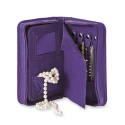 Grape Purple Microsuede Travel Jewelry Case, , default