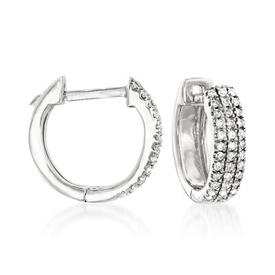 .14 ct. t.w. Diamond Huggie Hoop Earrings in 14kt White Gold