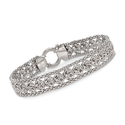 Rosette and Popcorn-Link Bracelet in Sterling Silver