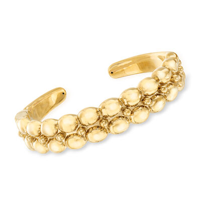 14kt Yellow Gold Double-Row Beaded Cuff Bracelet, , default