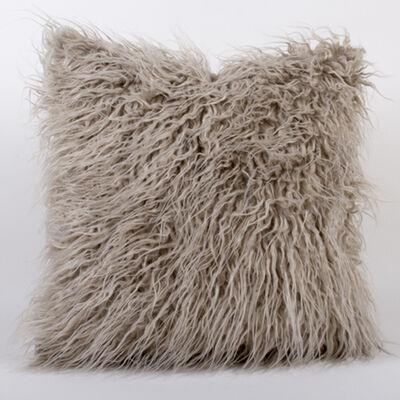 Set of 2 Gray Mongolian Fur Throw Pillows, , default