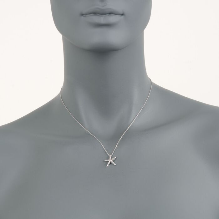 """Roberto Coin """"Tiny Treasures"""" .16 ct. t.w. Diamond Starfish Necklace  in 18kt White Gold. 16"""""""