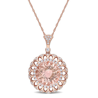 1.00 Carat Morganite and .68 ct. t.w. Diamond Pendant Necklace in 14kt Rose Gold