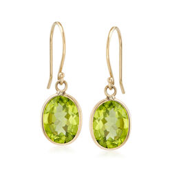 4.50 Carat Peridot Drop Earrings in 14kt Yellow Gold , , default