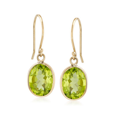 4.50 Carat Peridot Drop Earrings in 14kt Yellow Gold , , default