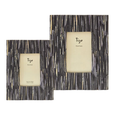 Gray and Black Faux Bone Picture Frame