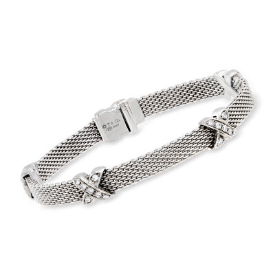 C. 1970 Vintage Tiffany Jewelry .80 ct. t.w. Diamond X Station Bracelet in 18kt White Gold