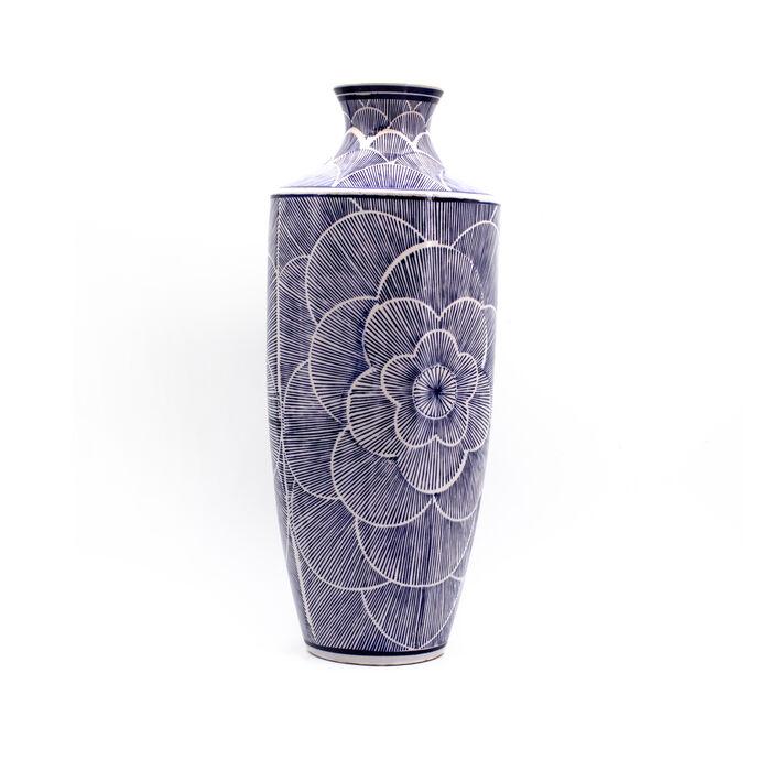 """Euro Ceramica """"Blue Garden"""" Petal Shoulder Porcelain Vase"""