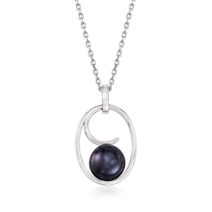 9.5-10mm Black Cultured Pearl Wave Pendant Necklace in Sterling Silver. 18""