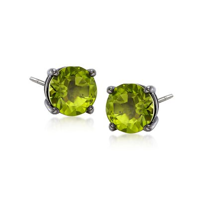 3.00 ct. t.w. Round Peridot Stud Earrings in Sterling Silver, , default