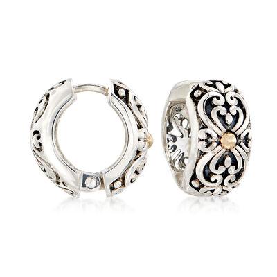 Sterling Silver and 14kt Gold Scrollwork Huggie Hoop Earrings, , default