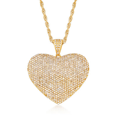 2.00 ct. t.w. Diamond Heart Pendant Necklace in 18kt Gold Over Sterling Silver, , default
