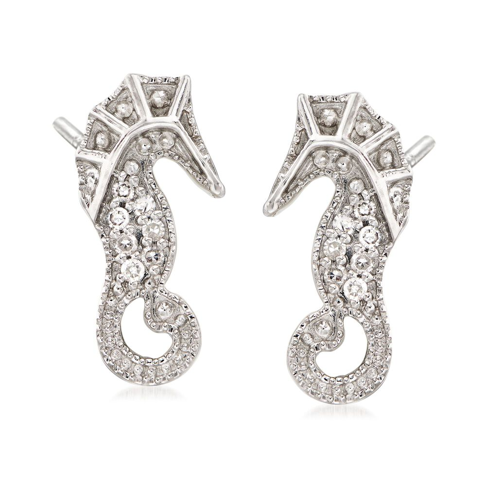 Diamond Accented Seahorse Earrings In Sterling Silver Default