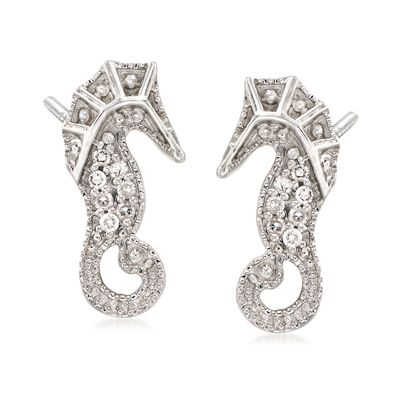 Diamond-Accented Seahorse Earrings in Sterling Silver, , default
